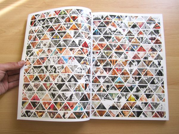 This Double Page Spread uses a pattern layout covering the entire page with different images clipping masked into each triangle. This design is useful for showing a range of different images really elegantly and organised.