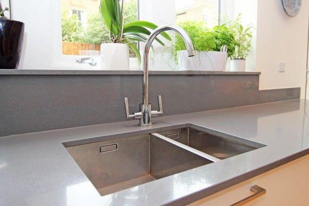 Compac Plomo Quartz worktop and kitchen upstand