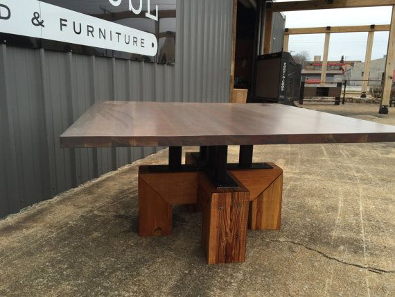 5' x 5' CONFERENCE TABLE Coastal Industrial with Antiqued Cherry Conference, Entry Way or Dining Table.
