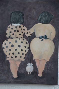 Dikke dames. Deze dames eerst met houtskool op het doek getekend en toen met acrylverf geschilderd. Doek gekocht bij Big Bazar, acrylverf en kwasten bij Action.