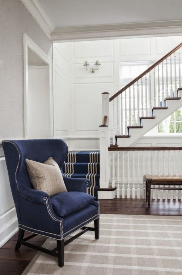 Inspired by Navy Blue, click thru to see some great examples... Wingback Chair and Navy Stair Runner - S B Long Interiors