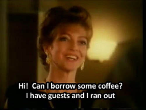 Sharon Maughan starring in the long-running TV ads for Taster's Choice / Gold Blend Coffee.