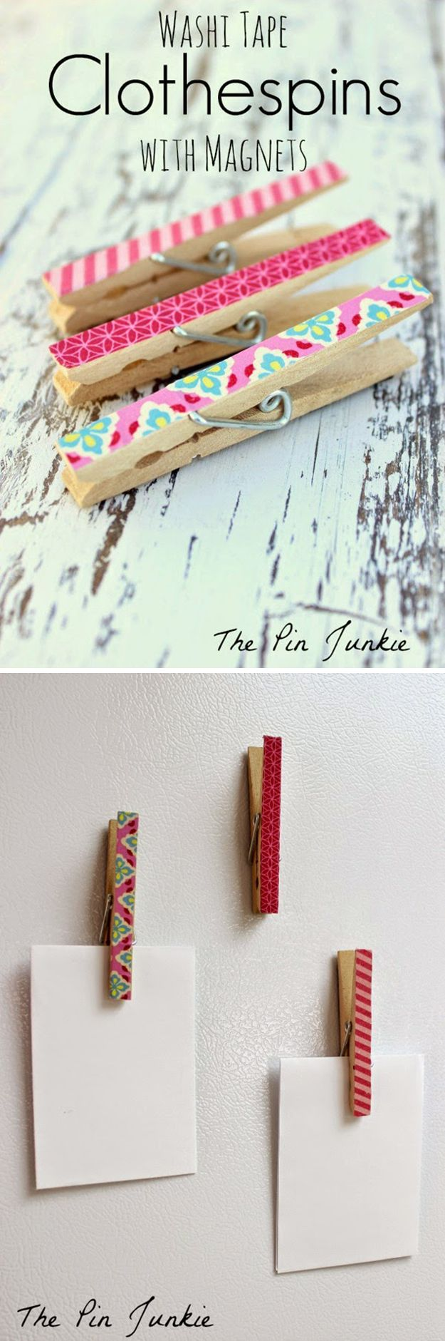 Creative Washi Tape Design | DIY Clothespin Magnets by DIY Ready at http://diyready.com/100-creative-ways-to-use-washi-tape/