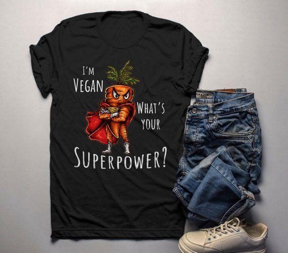 Men S Vegan T Shirt Super Carrot Graphic Tee Vegans Gift Idea Superpower Tshirt Shirts Graphic Tees Vegan Gifts