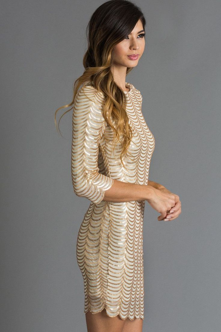 Sequin dresses are such a fun piece to adorn for the holidays! We love this flattering and feminine gold dress that can be worn over and over again! This comfy yet eye flattering piece is great for yo