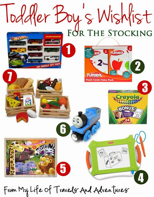 Toddler Boy's Wish List; A Combination of larger and smaller gifts for toddler boys covering all price ranges.