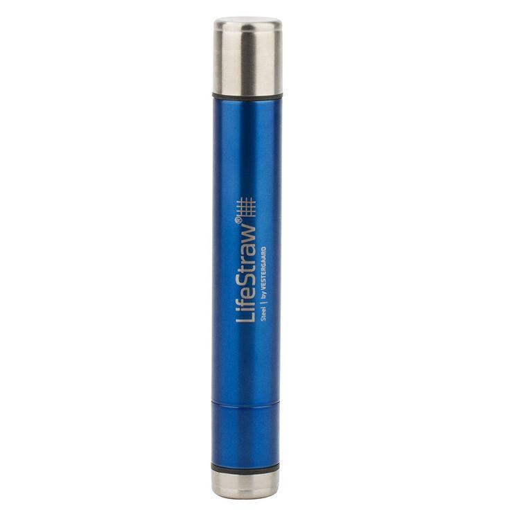 lifestraw® Steel//Waterfilter met actieve kool Capsule//verwijderd 99,9999% van de Bacteriën & 99,9% protozoen//ideaal voor wandelen, Trekking, Camping, reizen en notbereitschafts., blauw, m: Amazon.de: Sport & Freizeit