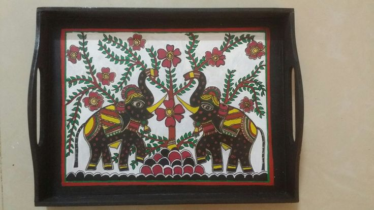 Tray done by Madhubani painting