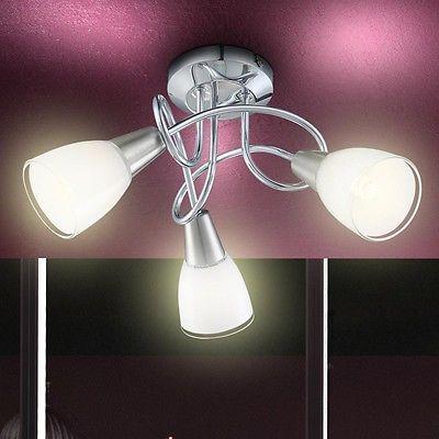 LUSSO Corridoio Faretti Spot Luce Copertura Vetro 3x E14 Lampada Cromo Bagno