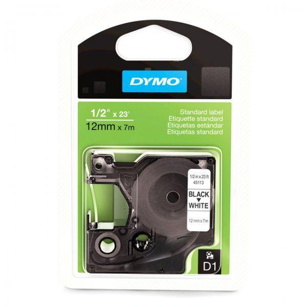 "Dymo D1 Label Cartridge - 0.5"" Width x 276"" Length - Semi-permanent - 1 / Pack - White, Black"