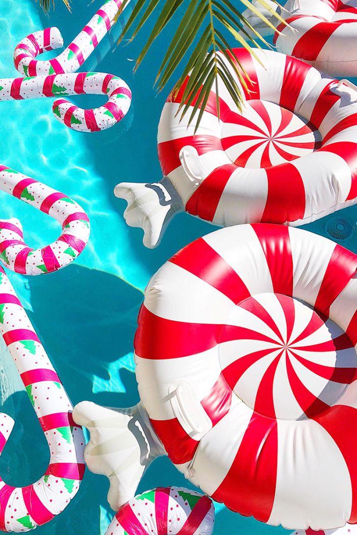 Christmas Themed Pool Floats.Our Christmas Decor In Palm Springs Christmas Christmas