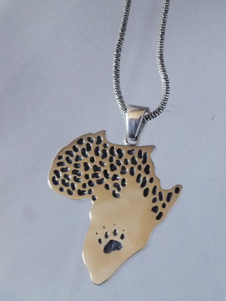 Sterling silver African map pendant with leopard skin and paw print