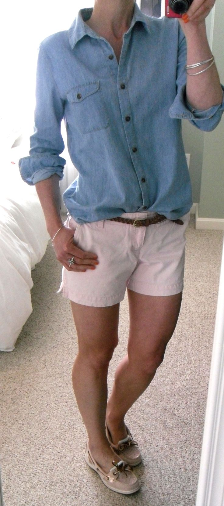 Chambray shirt, Old Navy pink shorts, HM braided belt, Sperry Angelfish top-sider