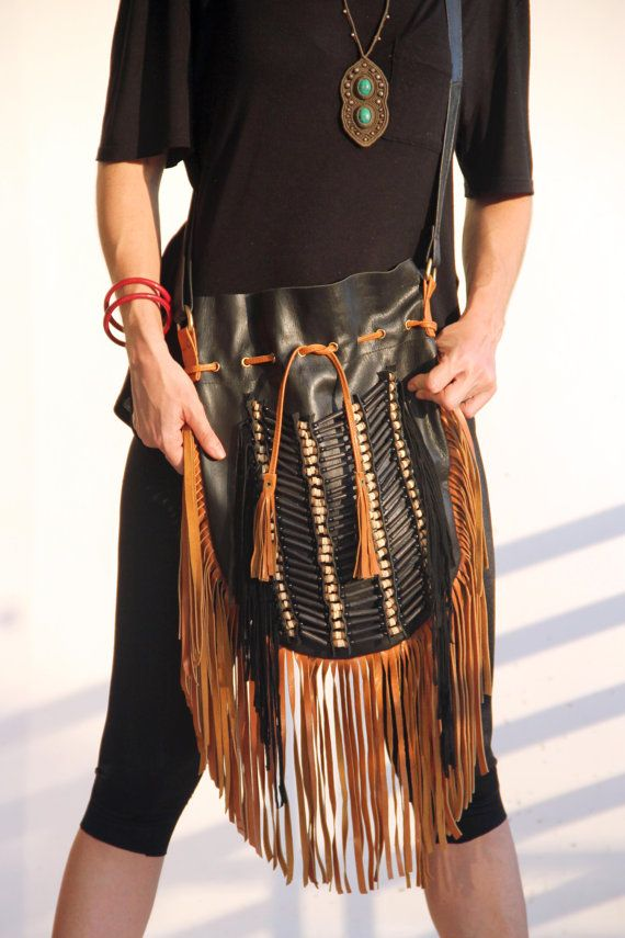 Boho leather bag black leather bag with tan fringes by etnikabali