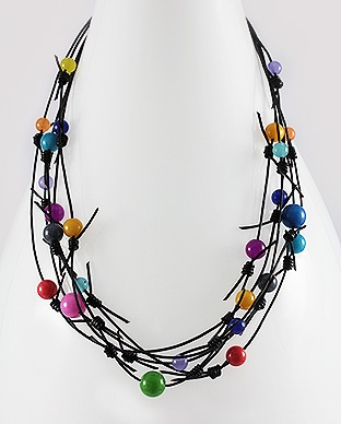 Handmade Black Leather Necklace beaded with Jade