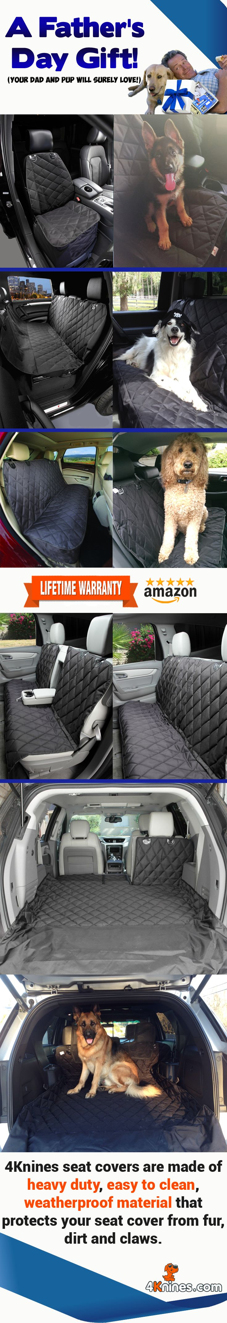 Great Father's Day Gift Idea. 4Knines Car Seat Covers and Cargo Liners will protect his car when traveling with his furry best friend.  http://4knines.com/collections/all