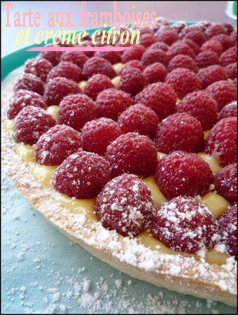 Tarte à la framboise sur lit de crème citron (raspberry tart with citrus custard)