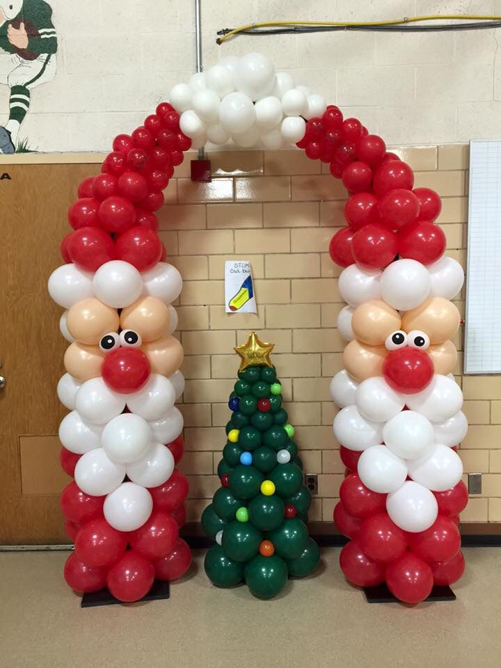 Santa Balloon Arch. Creative ideas for Christmas Balloon Art! Fun DIY Holiday Decorations that turn your home or party into a festive winter wonderland.                                                                                                                                                                                 More