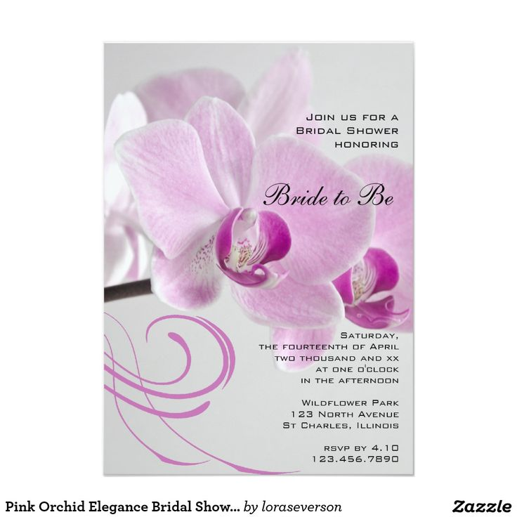 Pink Orchid Elegance Bridal Shower Invitation