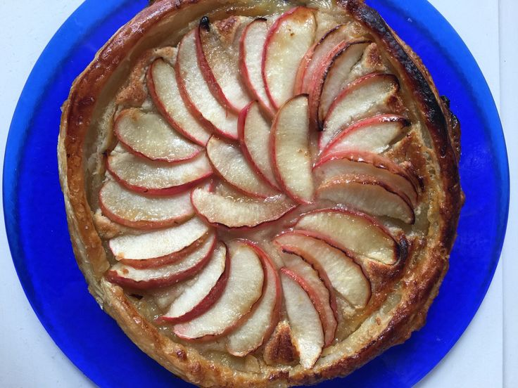 Rustic Apple and Almond Tart. Made with home-made rough puff pastry, but store bought is just as good!
