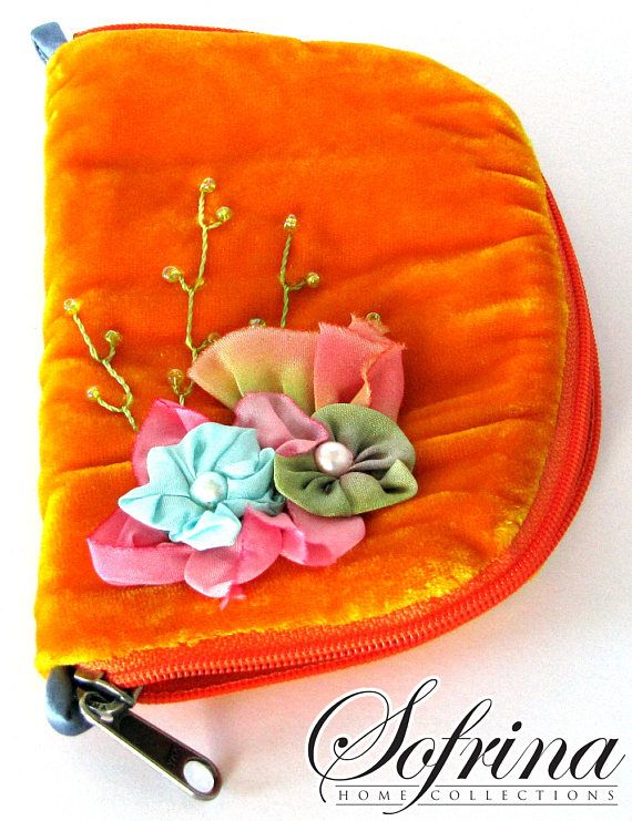 Tangerine Pastel Booklet  Mint Green Interior with Pockets