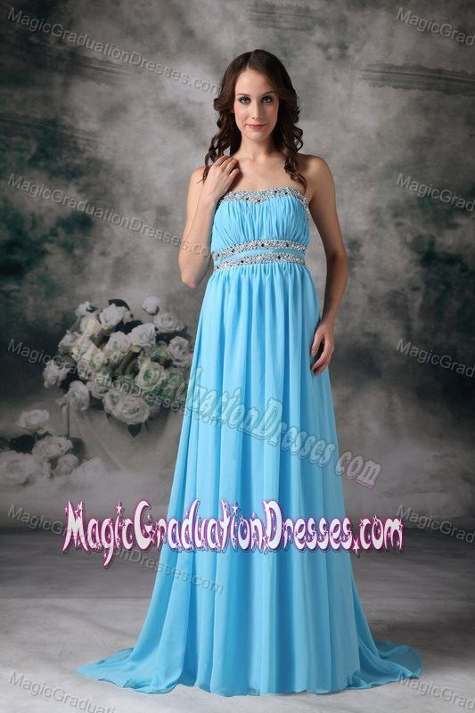 Pretty Strapless Ruched Beaded Baby Pink Graduation Dress Brush Train