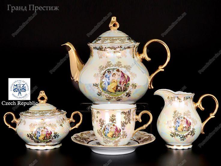 Чайный сервиз | Чайный сервиз фарфоровый 15 предметов | Перламутровая Мадонна ОФ 586 дек | Старорольский Фарфор (Starorolsky Porzellan Moritz Zdekauer) | Чайные сервизы | набор |  | Офелия