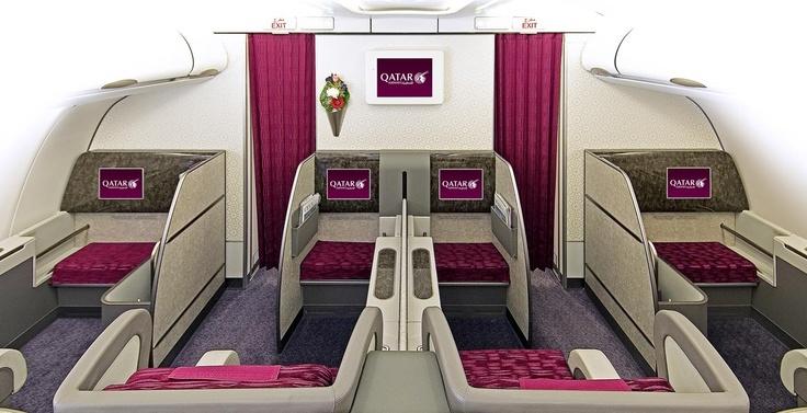First class cabin onboard qatarairways a340600