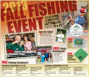 Free crafts and Events Bass pro, Micheals and More.  If you're looking for ways to get creative on the cheap, you've got a few options this weekend  On September 21 & 22 and 28 & 29, 2013, stop by participating Bass Pro Shops for a free Fall Fishing event . There'll be a free catch-and-release pond, a color-your-own tackle box craft, fishing seminars, fishing towel giveaways for the first 50 guests each day, & more.  From 11:00 a.m.-3:00 p.m. on Saturday, September 21, 2013, stop by…
