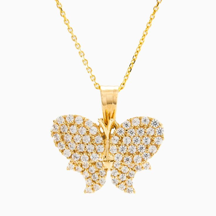 Gorgeous 14k yellow gold butterfly pendant with pave white crystals.