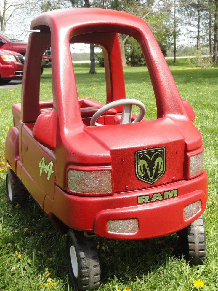 "This is our Little Tykes Cozy Coupe Truck that has become our ""Little Red Truck"" just like Dad's  ""Big Red Truck"""
