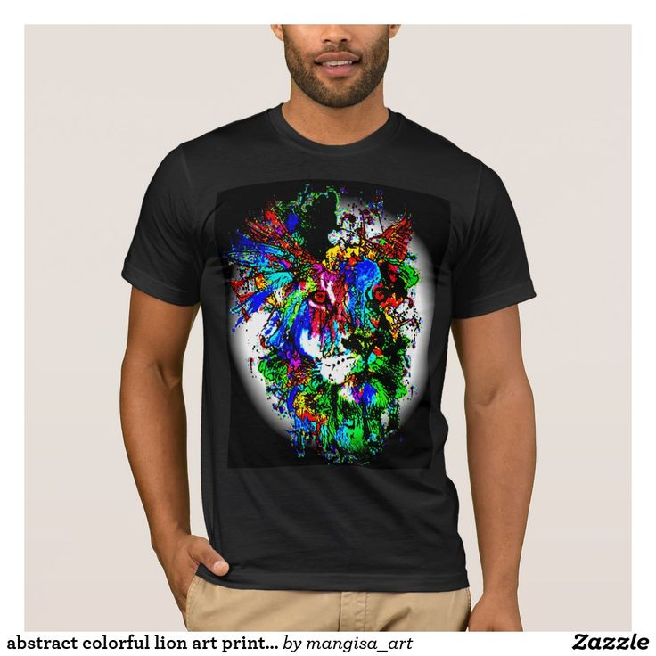 abstract colorful lion art print for shirt