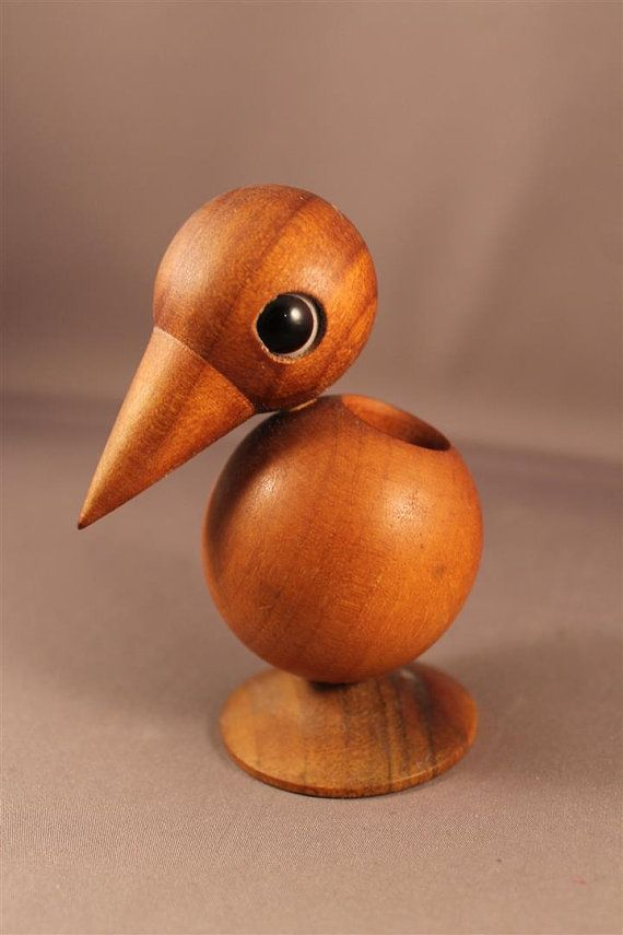 Toothpick Holder Teak Wood Figurine Bird Denmark True 60s