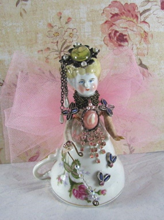 "Angel ""Pink and Pearls"" Assemblage Art Doll"