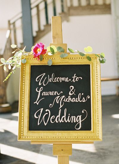 Gold + Striped South Carolina Wedding | Southern Weddings Magazine (Great sign for the lobby.)