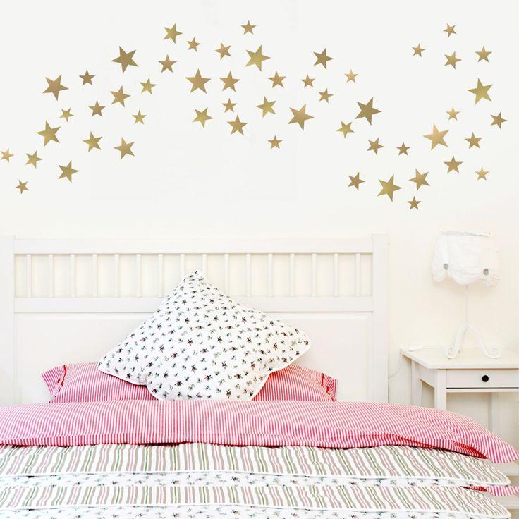 55 Metallic Gold Five   Point Star Vinyl Wall Decals (Multi Sized) Part 46