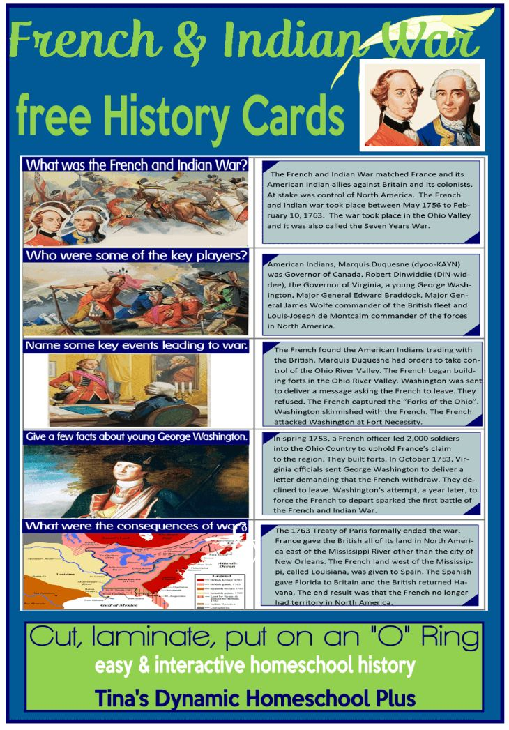 Free Homeschool History Cards. French and Indian War @ Tina's Dynamic Homeschool Plus