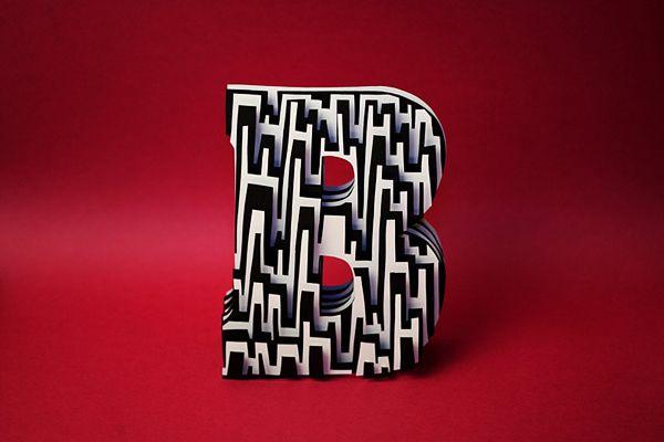 Jerome Corgier Paper Sculptured Letters - layers of cut paper