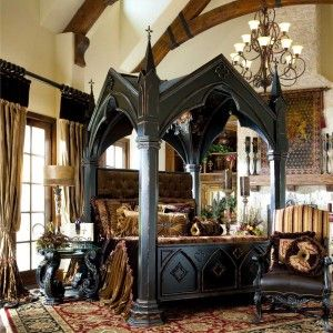 Gothic Victorian Bedroom Design Ideas with Black Wooden Gothic Canopy Bed and Large Persian Rug with Damask Pattern - Gothic Style Furniture Design