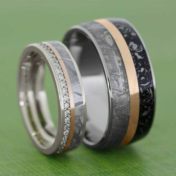 Meteorite Wedding Band Set With Rose Gold Pinstripes, Womens Diamond Wedding Band In White Gold, Mens Titanium Ring With Stardust