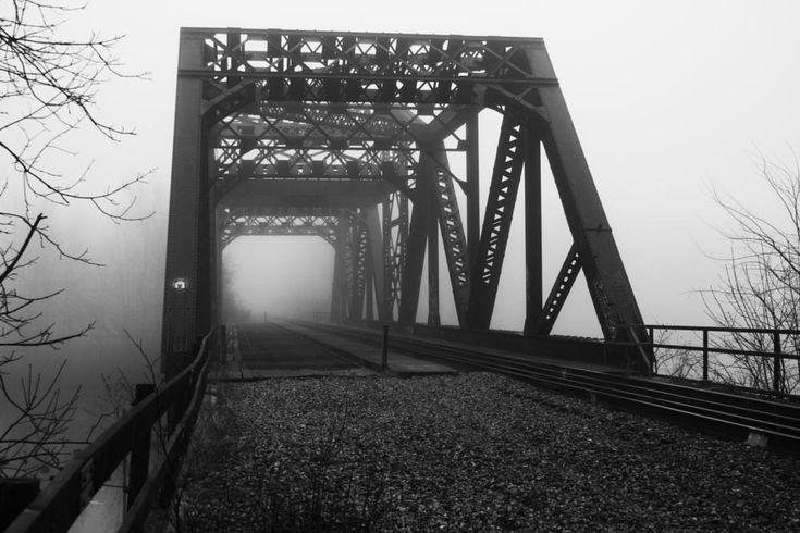 Side View Misty Grassy Brook Train Bridge by ʎpɐן uɐıpɐuɐɔ