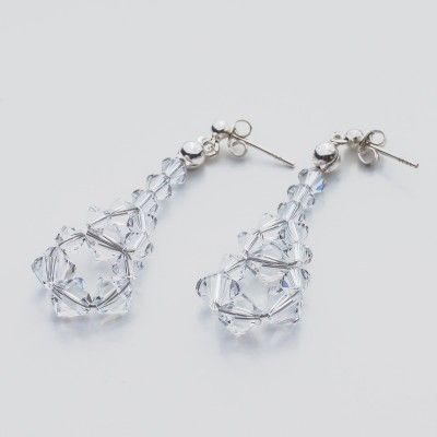 Swarovski Bicone Earrings 45mm Crystal  Dimensions: length: 4,5cm stone size: 4 and 6mm Weight ( silver) ~ 0,90g ( 1 pair ) Weight ( silver + stones) ~ 3,90g Metal : sterling silver ( AG-925) Stones: Swarovski Elements 5328 4 & 6mm Colour: Crystal 1 package = 1 pair  Price 7 EUR