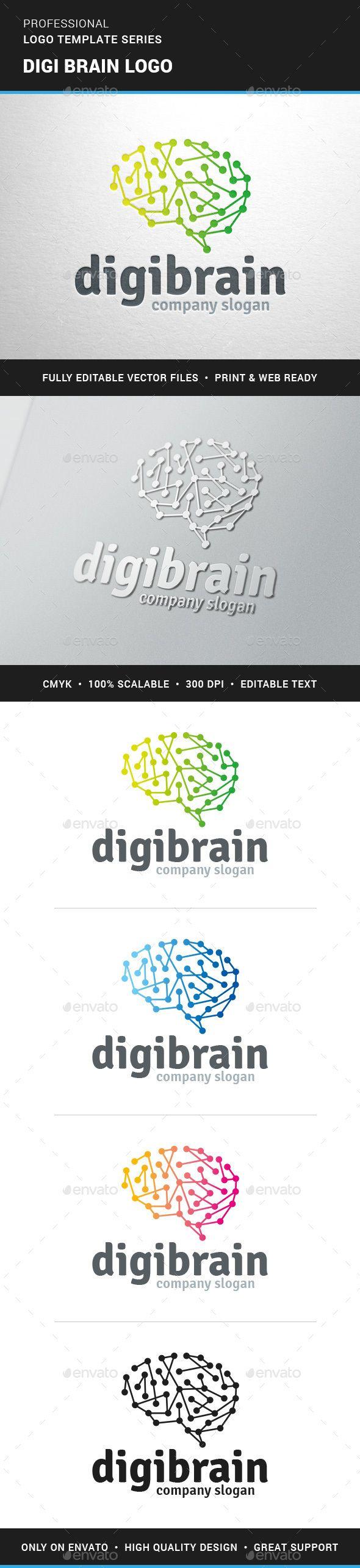 Digi Brain   Logo Design Template Vector #logotype Download it here: http://graphicriver.net/item/digi-brain-logo-template/13297211?s_rank=1626?ref=nexion
