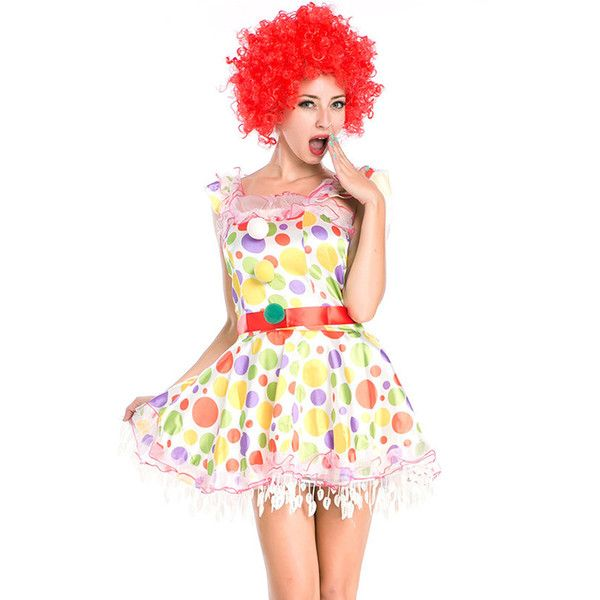 White Cute Womens Polka Dot Circus Halloween Clown Costume (€40) ❤ liked on Polyvore featuring costumes, white, womens snow white costume, circus costumes, clown halloween costume, womens circus costumes and ladies halloween costumes