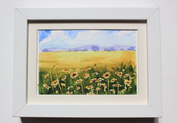 I featured a sunflower field in this unique original watercolor postcard handpainted with artist quality watercolors. By UNIQUEPOSTCARDS