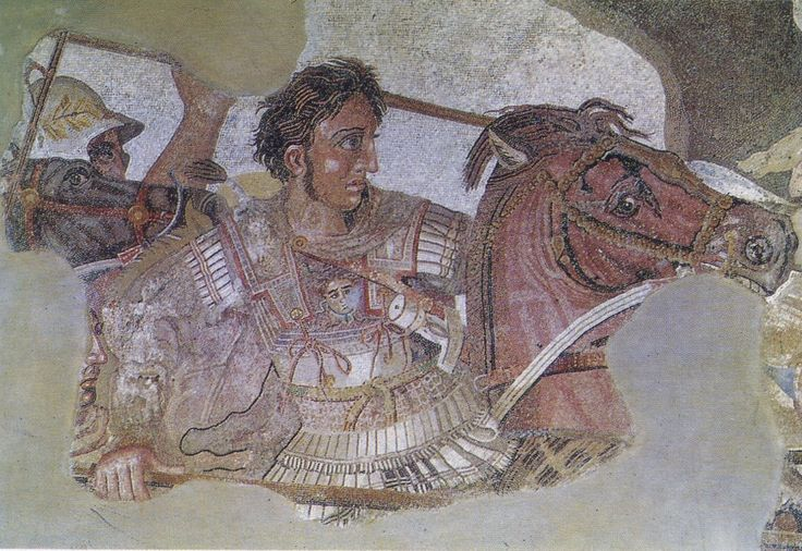 Particolare di Mosaico di Alessandro, scoperto a Pompei, raffigurante Alessandro che sconfigge Dario, re dei persiani, nella battaglia di Isso. Copia di un dipinto greco del 300 circa a.C.