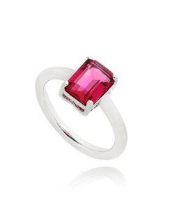 anel com pedra vermelha prata semijoia