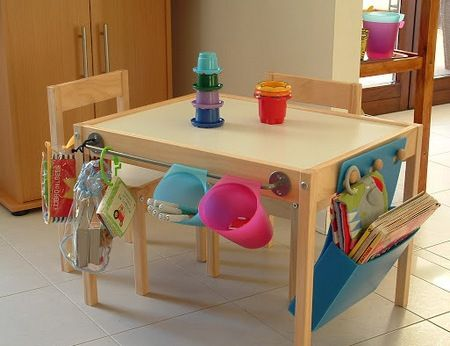 idee per bambini, idee per tenere in ordine la cameretta, tenere in ordine i giocattoli, tavolo con le tasche