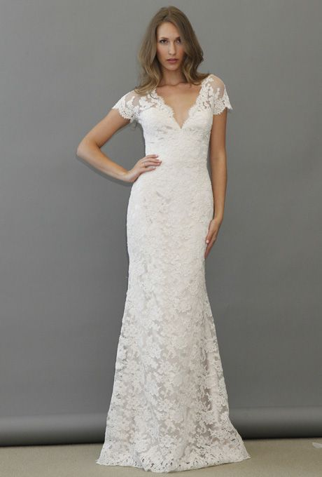 Brides.com: Jim Hjelm - Fall 2012. Lace sheath wedding dress with a v-neckline and short sleeves, Jim Hjelm  See more Jim Hjelm wedding dresses in our gallery.