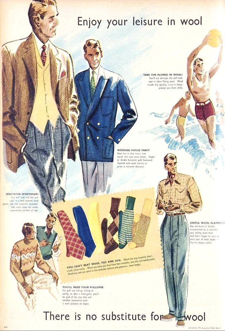 1950s Menswear Advertising Vintage Clothing Men 1950s Fashion Menswear Outfit Accessories